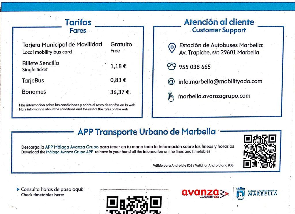 Bus fares & contact